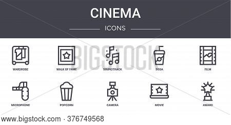 Cinema Concept Line Icons Set. Contains Icons Usable For Web, Logo, Ui Ux Such As Walk Of Fame, Soda