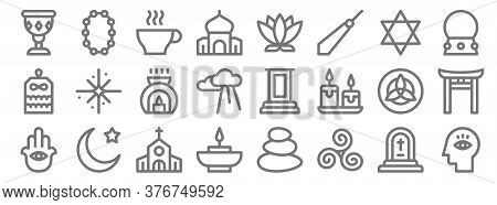 Spiritual Line Icons. Linear Set. Quality Vector Line Set Such As Meditation, Trisquel, Aromatic Can