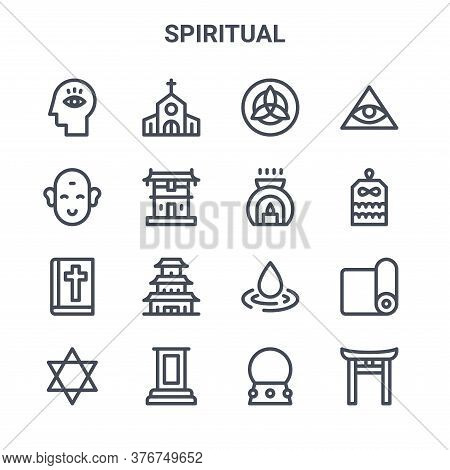 Set Of 16 Spiritual Concept Vector Line Icons. 64x64 Thin Stroke Icons Such As Church, Buddha, Amule