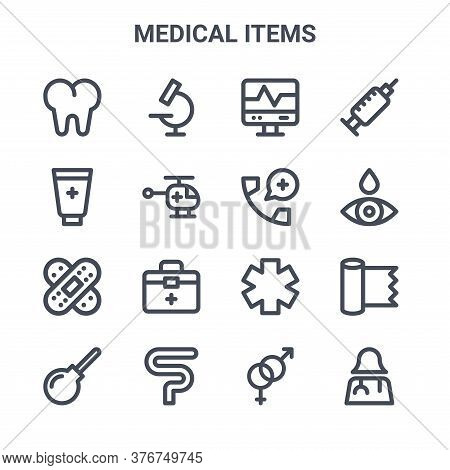 Set Of 16 Medical Items Concept Vector Line Icons. 64x64 Thin Stroke Icons Such As Microscope, Cream