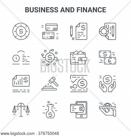 Set Of 16 Business And Finance Concept Vector Line Icons. 64x64 Thin Stroke Icons Such As Cit Card,