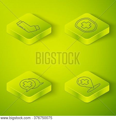 Set Isometric Medical Shield With Cross, Dialogue With The Doctor, Map Pointer With Cross Hospital A