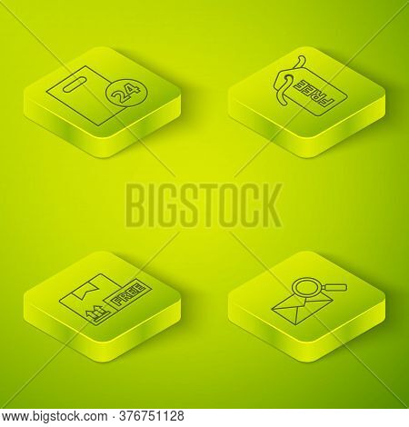 Set Isometric Price Tag With Free, Cardboard Box With Free Symbol, Envelope With Magnifying Glass An
