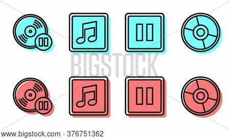 Set Line Pause Button, Vinyl Disk, Music Note, Tone And Cd Or Dvd Disk Icon. Vector