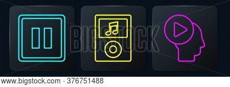 Set Line Pause Button, Head People With Play Button And Music Player. Black Square Button. Vector