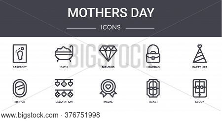 Mothers Day Concept Line Icons Set. Contains Icons Usable For Web, Logo, Ui Ux Such As Bath, Handbag