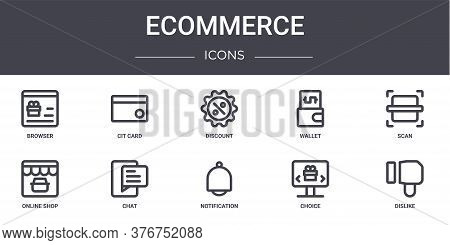 Ecommerce Concept Line Icons Set. Contains Icons Usable For Web, Logo, Ui Ux Such As Cit Card, Walle