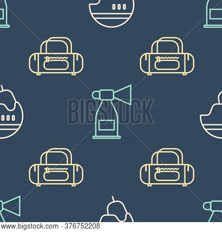 Set Line Hockey Helmet, Sport Bag And Air Horn On Seamless Pattern. Vector