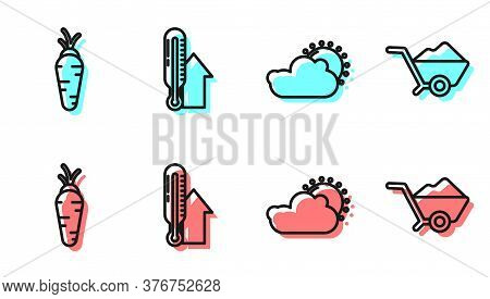 Set Line Sun And Cloud Weather, Carrot, Meteorology Thermometer And Wheelbarrow With Dirt Icon. Vect