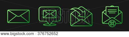 Set Line Envelope, Envelope, Speech Bubble With Envelope And Delete Envelope. Gradient Color Icons.
