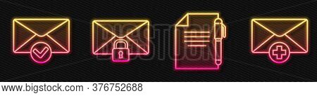 Set Line Document And Pen, Envelope And Check Mark, Mail Message Lock Password And Received Message