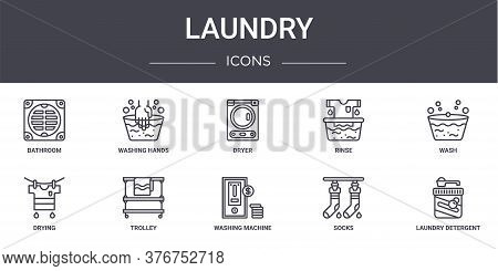 Laundry Concept Line Icons Set. Contains Icons Usable For Web, Logo, Ui Ux Such As Washing Hands, Ri