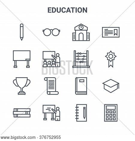 Set Of 16 Education Concept Vector Line Icons. 64x64 Thin Stroke Icons Such As Eyeglasses, Board, Re