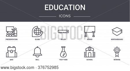 Education Concept Line Icons Set. Contains Icons Usable For Web, Logo, Ui Ux Such As Globe, Board, B