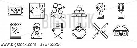 12 Set Of Linear Fame Icons. Thin Outline Icons Such As Sunglasses, Perfume, Bodyguard, Award, Cheer