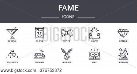 Fame Concept Line Icons Set. Contains Icons Usable For Web, Logo, Ui Ux Such As Poster, Carpet, Gold