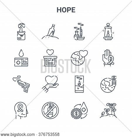 Set Of 16 Hope Concept Vector Line Icons. 64x64 Thin Stroke Icons Such As Message In A Bottle, Blood