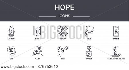 Hope Concept Line Icons Set. Contains Icons Usable For Web, Logo, Ui Ux Such As Bible, Love, Aid, Bi