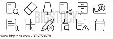 12 Set Of Linear Work Office Supply Icons. Thin Outline Icons Such As Container, Ink Cartridge, Cabi