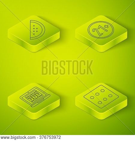 Set Isometric 21 Plus, Laptop And Slot Machine, Game Dice And Casino Slot Machine With Watermelon Ic