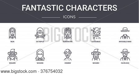 Fantastic Characters Concept Line Icons Set. Contains Icons Usable For Web, Logo, Ui Ux Such As Octo