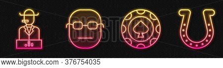 Set Line Casino Chips, Poker Player, Poker Player And Horseshoe. Glowing Neon Icon. Vector