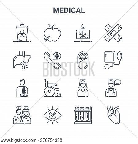 Set Of 16 Medical Concept Vector Line Icons. 64x64 Thin Stroke Icons Such As Healthy Food, Liver, Bl