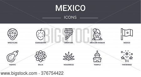 Mexico Concept Line Icons Set. Contains Icons Usable For Web, Logo, Ui Ux Such As Guanabana, Mexican