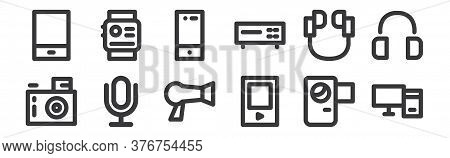 12 Set Of Linear Electronics Icons. Thin Outline Icons Such As Personal Computer, Mp Player, Microph