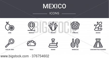 Mexico Concept Line Icons Set. Contains Icons Usable For Web, Logo, Ui Ux Such As Mexico, Poncho, Co