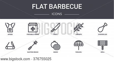 Flat Barbecue Concept Line Icons Set. Contains Icons Usable For Web, Logo, Ui Ux Such As Portable Fr