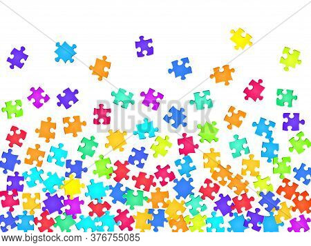 Abstract Mind-breaker Jigsaw Puzzle Rainbow Colors Pieces Vector Background. Group Of Puzzle Pieces