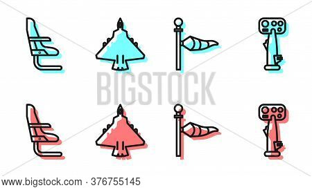 Set Line Cone Meteorology Windsock Wind Vane, Airplane Seat, Jet Fighter And Aircraft Steering Helm