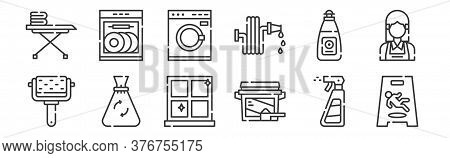 12 Set Of Linear Cleaning Icons. Thin Outline Icons Such As Wet Floor, Washing Powder, Garbage Bag,