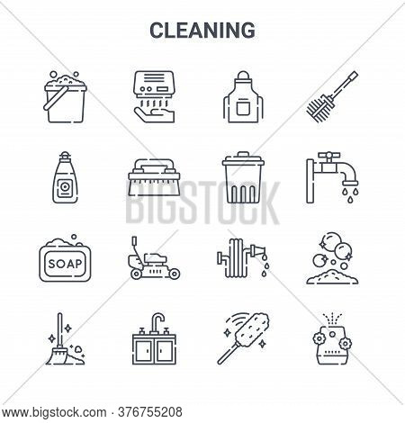 Set Of 16 Cleaning Concept Vector Line Icons. 64x64 Thin Stroke Icons Such As Hand Dryer, Dish Soap,
