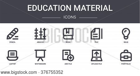 Education Material Concept Line Icons Set. Contains Icons Usable For Web, Logo, Ui Ux Such As Abacus
