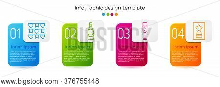 Set Line Carnival Garland With Flags, Champagne Bottle, Glass Of Champagne And Greeting Card. Busine