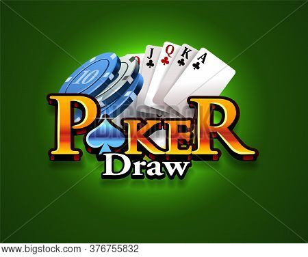 Poker Game Logo On A Green Background. Card Game. Casino Game. Vector Illustration