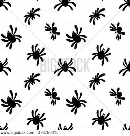 Seamless Spider Silhouette Pattern On White Background.cute Spider Pattern.design For Printing, Pape