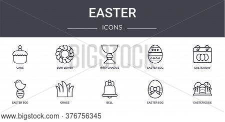 Easter Concept Line Icons Set. Contains Icons Usable For Web, Logo, Ui Ux Such As Sunflower, Easter