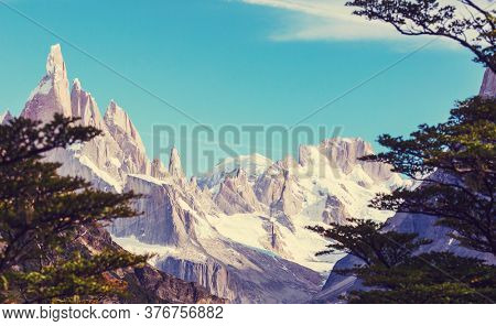 Famous beautiful peak Cerro Torre in Patagonia mountains, Argentina. Beautiful mountains landscapes in South America.