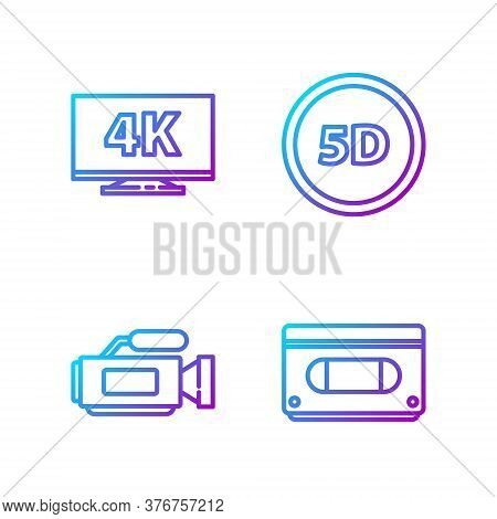 Set Line Vhs Video Cassette Tape, Cinema Camera, Screen Tv With 4k And 5d Virtual Reality. Gradient