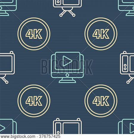 Set Line Retro Tv, 4k Ultra Hd And Online Play Video On Seamless Pattern. Vector