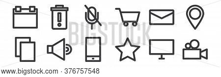 12 Set Of Linear Multimedia Icons. Thin Outline Icons Such As Video Camera, Star, Sound, Mail, Mute,