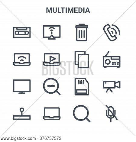 Set Of 16 Multimedia Concept Vector Line Icons. 64x64 Thin Stroke Icons Such As Computer Monitor, La