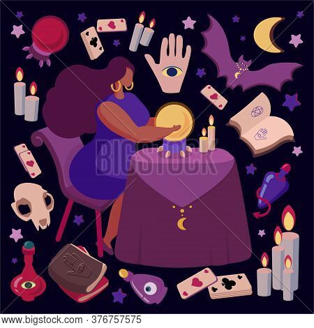 A Mystical Illustration Demonstrating Fortune-telling. Fortuneteller Predicts The Future. Attributes