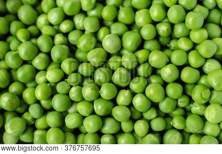 Green Ripe Peas, Green Legumes, Vegetarian Food Close-up