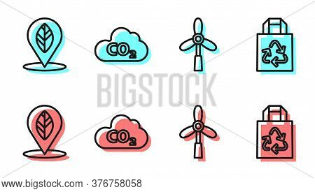 Set Line Wind Turbine, Location With Leaf, Co2 Emissions In Cloud And Paper Bag With Recycle Icon. V