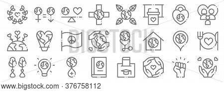 World Love Line Icons. Linear Set. Quality Vector Line Set Such As Save The World, Together, Book, R