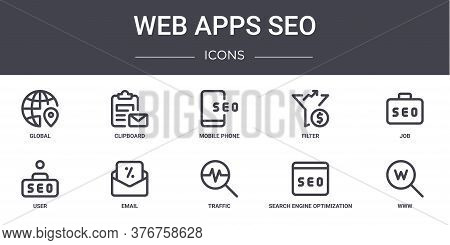 Web Apps Seo Concept Line Icons Set. Contains Icons Usable For Web, Logo, Ui Ux Such As Clipboard, F